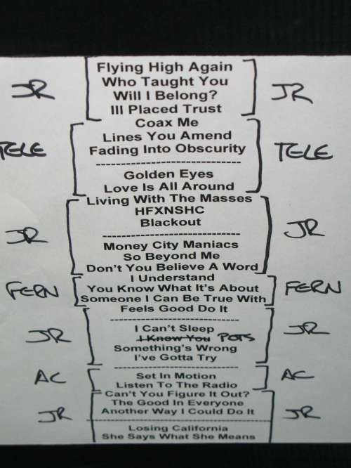 Set List from Sloan at Neumo's